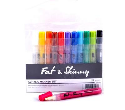 Набор маркеров FAT&SKINNY 12 шт  2-3мм Acrylic